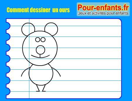 Apprendre dessiner pas pas ours dessin ours cours faciles par tapes gratuits maternelle - Comment dessiner un ours ...